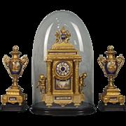 Circa 1900 Fine French Cased Ormolu Two Train Mantel Clock With Garnitures