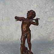 Circa 1895 Bronze Statue Of A Child After The Sculpture By Louis August Moreau