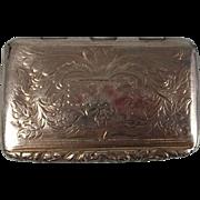Georgian Sterling Silver Snuff Box Hallmarked For Birmingham 1829 by Joseph Willmore