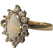 1982 9ct Yellow Gold Opal & Cubic Zirconia Ring UK Size L+ US 6