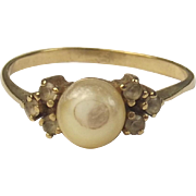 9ct Yellow Gold Pearl & Quartz Ring UK Size P US 7 ¾