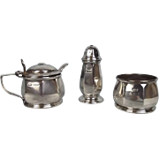 1929 Silver Three Piece Condiment Set By Mappin & Webb