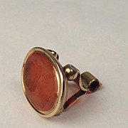 9ct Yellow Gold Carnelian Wax Seal Stamp Of A Gentlemans Profile