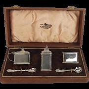 Cased George V Silver Three Piece Condiment Set Birmingham 1920 Adie Brothers