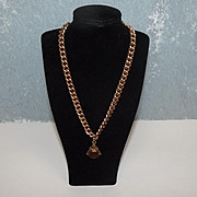 Victorian 9ct Rose Gold Double Albert Watch Chain With Fob