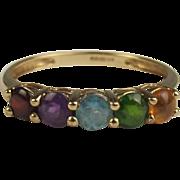 9ct Yellow Gold Multi-Stone Ring UK Size S US 9 ¼