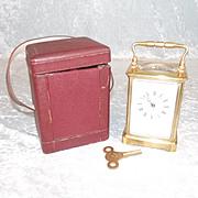 Cased Circa 1900 Boxell Of Brighton Brass Striking Carriage Clock