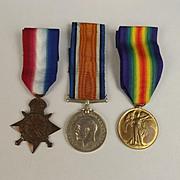 WW1 Medal 1914/15 Trio 2542 F. Burn RNVR