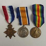 WW1 Medal 1914/15 Trio Awarded Royal Navy Petty Officer, 2nd Class J.Honer