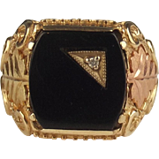 Gents 9ct Yellow Gold Onyx & Diamond Ring UK Size U US 10 ¼
