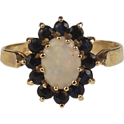 1982 9ct Yellow Gold Opal & Sapphire Flower Head Ring UK Size M US 6 ¼