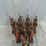 Lineol German World War Two Lancers Cavalry Set Of Eight Composite Figures