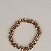 Circa 1900 Rose Gold Curb Link Bracelet With Padlock
