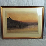 SALE PENDING Arthur Henry Enock 1828-1917 Watercolour Twilight Sand Quay Dart Near Dartmouth