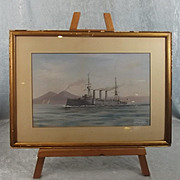 Gouache Painting Of The Armoured Cruiser HMS Cornwall By Antonio De Simone 1909