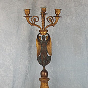 19th Century Gilt Bronze French Angel Candelabra