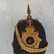 Edwardian Durham Light Infantry Officers Green Cloth Helmet