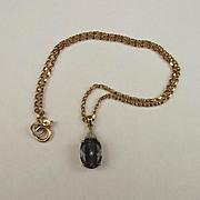 9ct Yellow Gold Mystic Topaz & Diamond Pendant Necklace