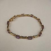 9ct Yellow Gold Amethyst & Diamond Bracelet