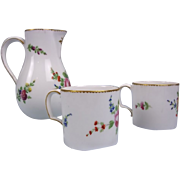 French Faubourg St. Denis Coffee Cans  & Milk Jug 1769-1793 - 1st French Porcelain