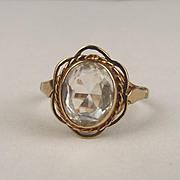 1968 9ct Yellow Gold & Glass Ring UK Size O+ US 7 ½