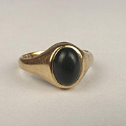 1990 9ct Yellow Gold Bloodstone Ring UK Size N US 6 ¾
