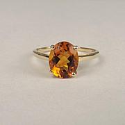 1989 10ct Yellow Gold Citrine Ring UK Size P+ US 8