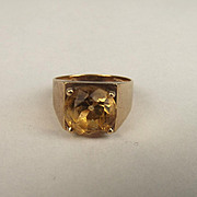1970 9ct Yellow Gold Citrine Ring UK Size L US 5 ¾