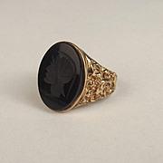 1976 9ct Yellow Gold Onyx Ring UK Size S US 9 ¼