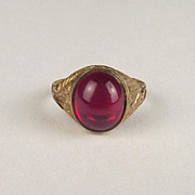 1991 Gents 9ct Yellow Gold 3.5 Carat Ruby Ring UK Size T+ US 10