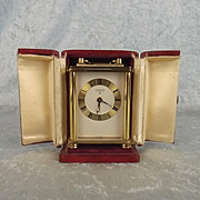 Brass Carriage Alarm Clock With Original Leather Travelling Case By Looping