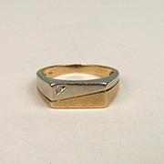 Gents 9ct Yellow & White Gold Diamond Ring UK Size S US 9 ¼