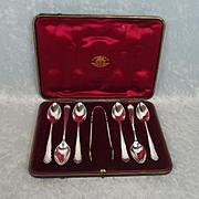 Cased Silver Set Of Six Teaspoons & Pair of Sugar Tongs London 1903/4