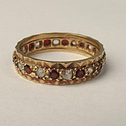 1977 9ct Yellow Gold Garnet & Quartz Eternity Ring UK Size S US 9 ¼