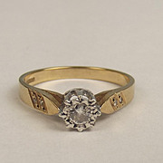 1990 9ct Yellow Gold Diamond Solitaire Ring UK Size P US 7 ¾
