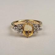 1972 9ct Yellow Gold Citrine & Aquamarine Ring UK Size M+ US 6 ½