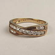 9ct Yellow Gold Cubic Zirconia Ring UK Size O US 7 ¼