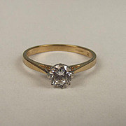London 9ct Yellow Gold Cubic Zirconia Solitaire Ring UK Size M+ US 6 ½