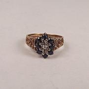 1975 9ct Yellow Gold Sapphire & Diamond Flower Head Ring UK Size M US 6 ¼