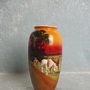 Circa 1920 Royal Doulton Vase With Hand Painted Scene Of Heavy Horses Ploughing Furrows