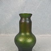 Circa 1900 Bohemian Kralik Pampas Iridescent Small Glass Vase