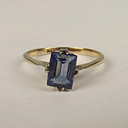9ct Yellow Gold Sapphire Ring UK Size O US 7