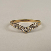 1990 9ct Yellow Gold Diamond Wishbone Ring UK Size M+ US 6 ¼