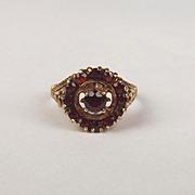 1975 9ct Yellow Gold Garnet Cluster Ring UK Size L+ US 5 ¾