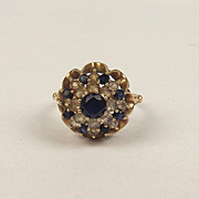 1974 9ct Yellow Gold Sapphire & Quartz Cluster Ring UK Size P US 7 ½