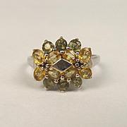 9ct White Gold & Topaz Cluster Ring UK Size S US 9