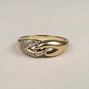 9ct Yellow Gold Diamond Ring UK Size O US 7