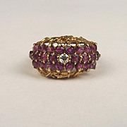 1976 9ct Yellow Gold Ruby & Diamond Cluster Ring UK Size M+ US 6 ¼