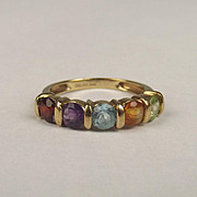 9ct Yellow Gold Multi Stone Ring UK Size K US 5 ¼