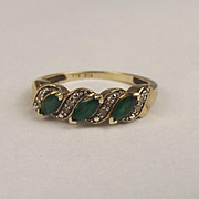 9ct Yellow Gold Emerald & Diamond Banded Ring UK Size M US 6